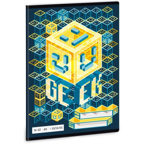 Geek tűzött füzet A/5, 32 lap vonalas 1.osztály (14-32)