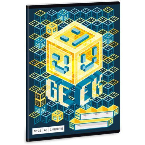 Geek tűzött füzet A/5, 32 lap vonalas 3.osztály (12-32)
