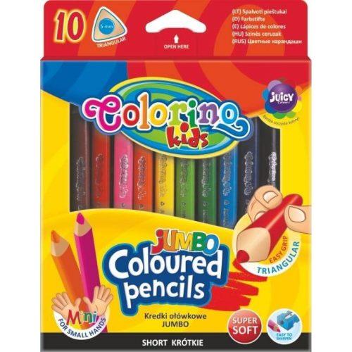 Színes ceruzakészlet 10 db-os, 8.9 cm Colorino MINI JUMBO trio, háromszög test