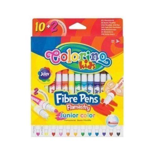 Filctoll készlet 10+2 db-os (2db fluo szín), 1 és 4 mm, Colorino JUNIOR 3+