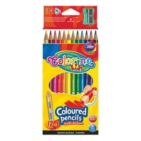 Színes ceruzakészlet 12+1, hegyezővel, Colorino trio, háromszög test