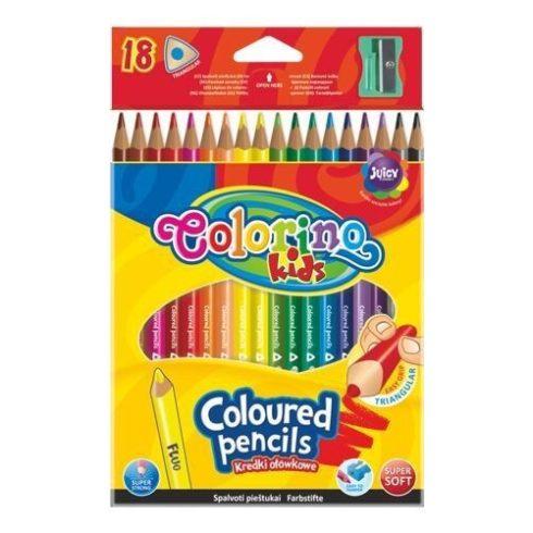 Színes ceruzakészlet 18 db-os, (1 db fluo), hegyezővel, Colorino trio, háromszög test