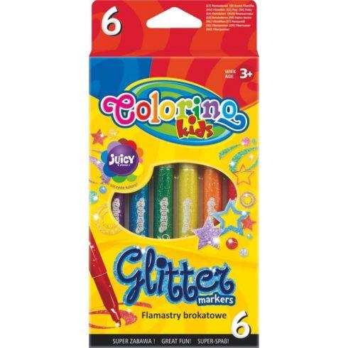 Filctoll készlet 6 db-os, csillogó, Colorino Glitter