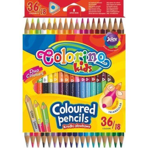 Színes ceruzakészlet 18/36, DUO (kétvégű), Colorino, háromszög test