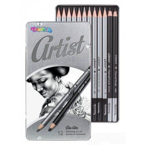 Grafitceruza készlet, fémdobozos, 12 db-os, Colorino Artist, kerek