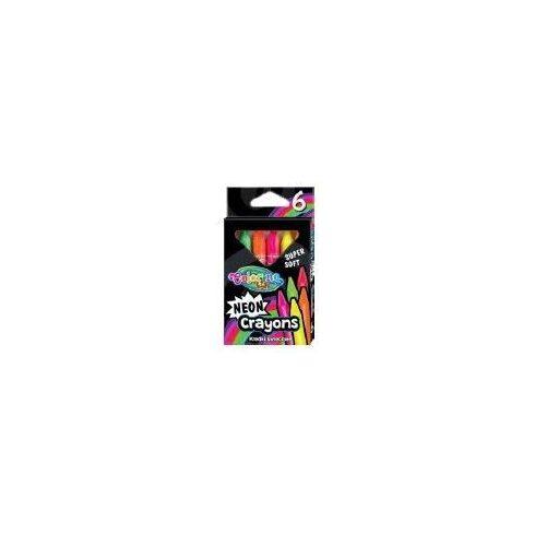 Zsírkréta készlet, 6 db-os, neon, háromszög test, Colorino