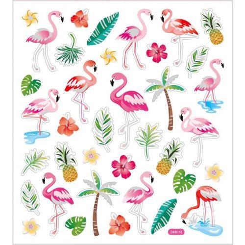 Flamingó matrica, 15x17cm