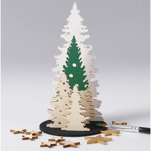 Karácsonyi fa dekoráció készítő kreatív szett, 15x17cm, karácsonyfák