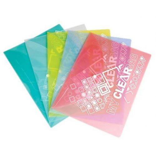 Irattartó tasak A/4, patentos, műanyag, Flexoffice, többféle szín