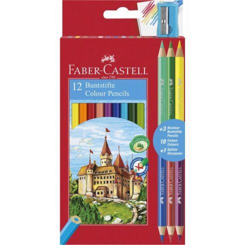 Színes ceruzakészlet 12+3db-os (Bicolor), Faber-Castell, hatszög test