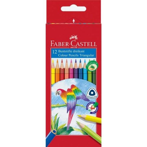 Színes ceruzakészlet 12 db-os, Faber-Castell, papagáj mintás, háromszög test