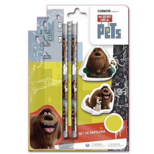 The Secret Life of Pets írószer, suli szett 4 db-os (2 db ceruza, 2 db radír)