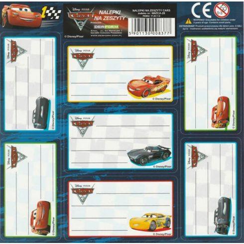 Verdák, Cars füzetcímke 7 db/ív, többféle