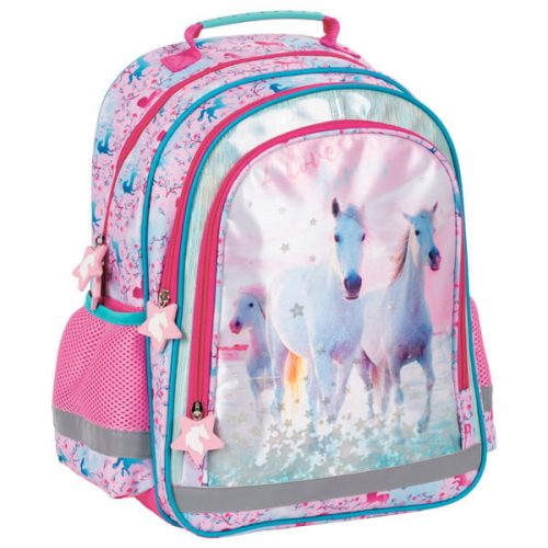 Lovas hátizsák, 38x28x18cm, KO22, kék-rózsaszín