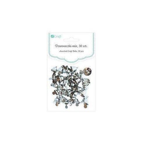 Harangok, fűzhető, 30 db/csomag, 6-10mm-es, ezüst színű