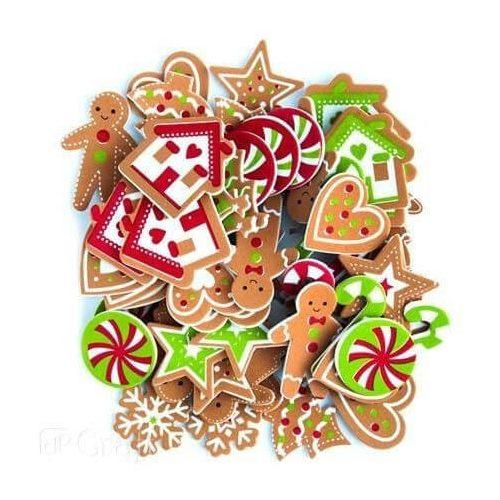 Dekorgumi, öntapadós, karácsonyi mézeskalács figurák, 60 db-os