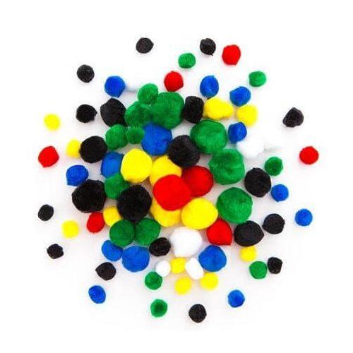 Pom-pom, alap színek, 1-2,5 cm-es, 78 db/csomag
