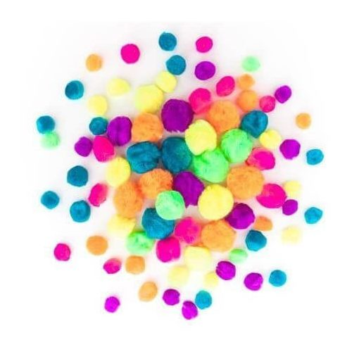 Pom-pom, neon színek, 1-2,5 cm-es, 78 db/csomag