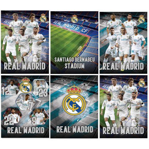 Real Madrid füzet A/4, vonalas 54 lap, 80g, többféle minta