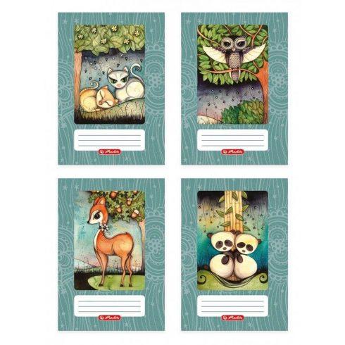 Erdőlakók tűzött füzet A/5, 40 lap kockás, design by Róth Anikó, többféle minta