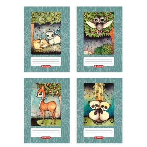 Erdőlakók tűzött füzet A/5, 40 lap vonalas 2.osztály, design by Róth Anikó, többféle minta