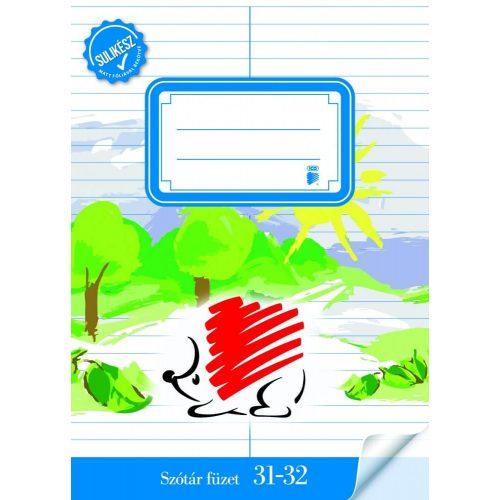 Süni tűzött füzet A/5, 32 lap szótár, ICO, matt fóliázott