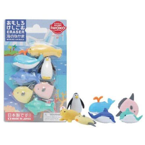 Radírkészlet, tengeri állatok, 7 db-os