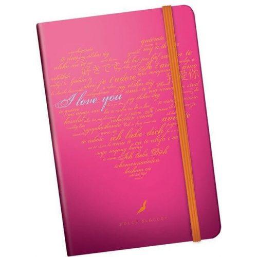 Secret minibook, notesz gumis pánttal A/6, I Love You