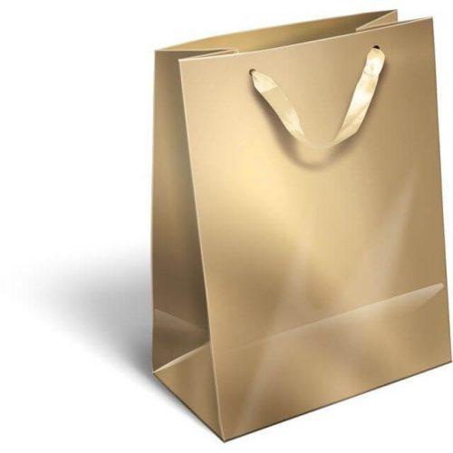 Ajándéktáska 23x18x9cm M, szalagfüles, Perlage, Gold, arany