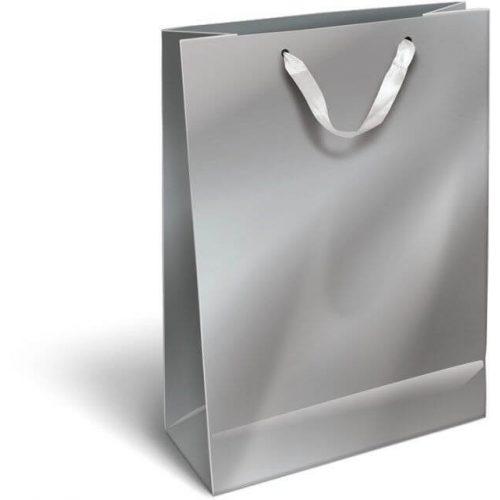 Ajándéktáska 23x18x9cm M, szalagfüles, Perlage, Silver, ezüst