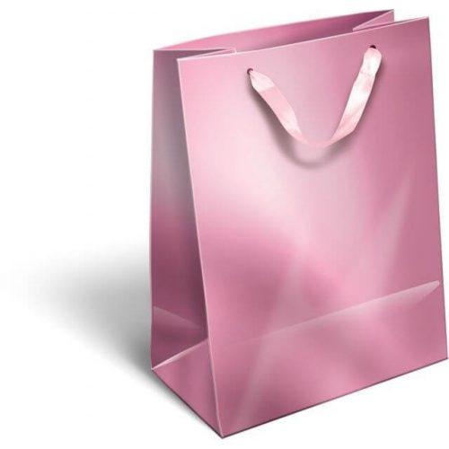 Ajándéktáska 23x18x9cm M, szalagfüles, Perlage, Pink