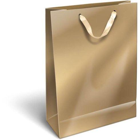 Ajándéktáska 32x24x10cm L, szalagfüles, Perlage, Gold, arany