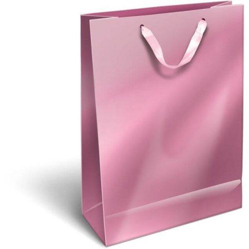 Ajándéktáska 32x24x10cm L, szalagfüles, Perlage, Pink