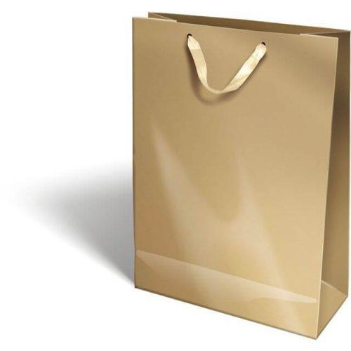 Ajándéktáska 38x28x12cm XL, szalagfüles, Perlage, Gold, arany