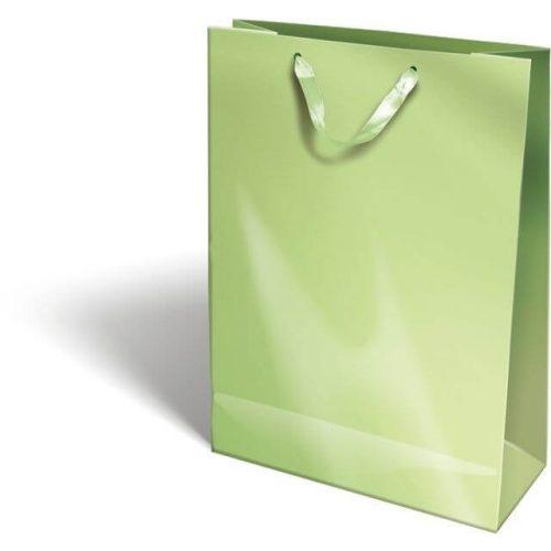 Ajándéktáska 38x28x12cm XL, szalagfüles, Perlage, Light Green, zöld