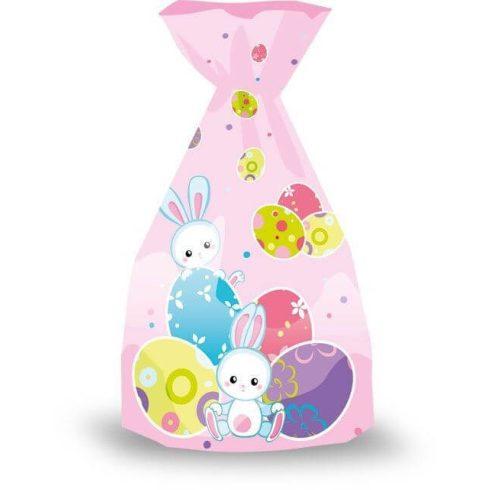 Húsvéti zacskó, tojás, rózsaszín, 16x32cm