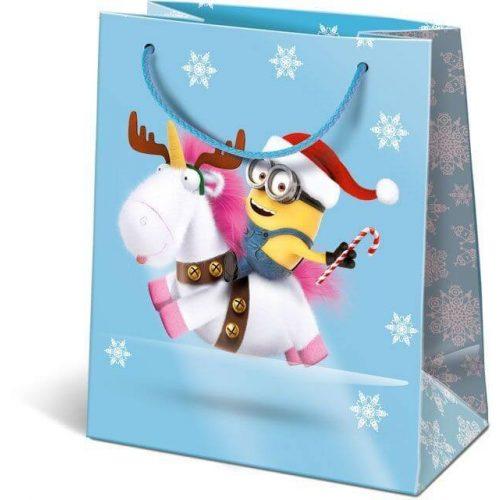 Karácsonyi ajándéktáska 14,5x12,5x7,5cm GSXS Minions Unicorn