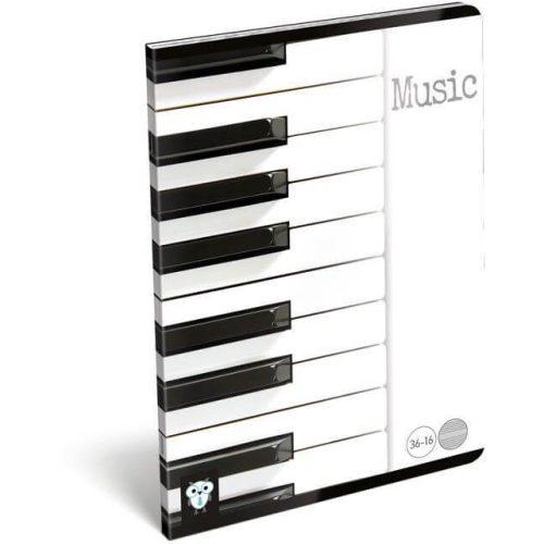 Lizzy Card tűzött füzet A/5, 16 lap hangjegy Music Piano