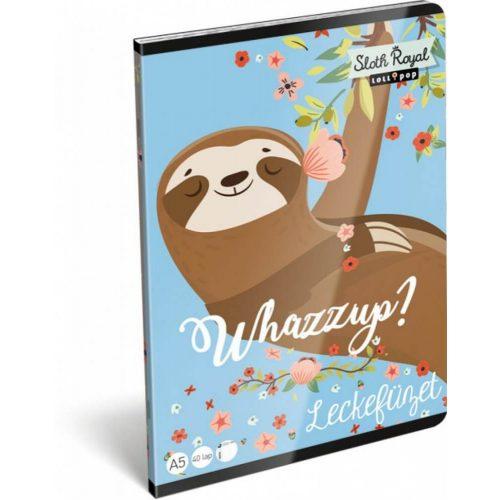 Lajhár tűzött füzet A/5, 32 lap lecke Lollipop Sloth Royal