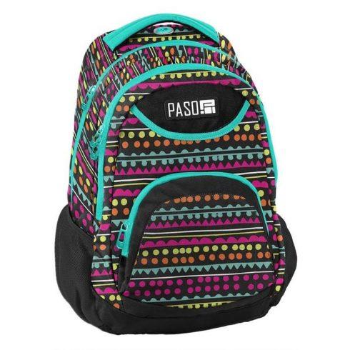 Paso hátizsák, iskolatáska 43x31x19cm, színes pöttyökkel, zöld cipzárral