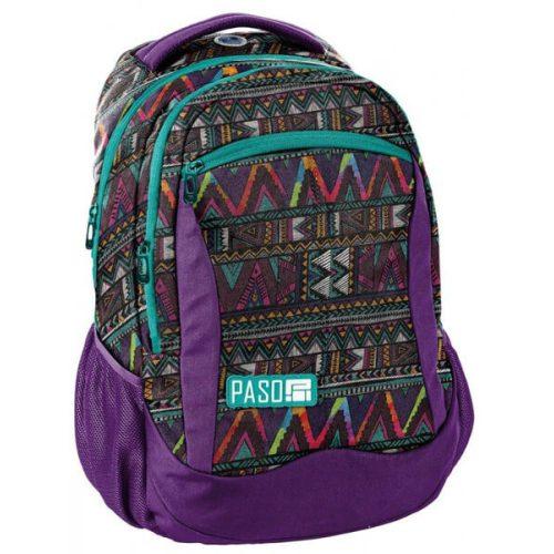 Paso hátizsák, iskolatáska 43x31x19cm, lila színű, háromszög mintával