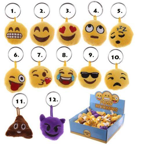 Smiley, emoji kulcstartó, plüss kulcstartó, 4cm,többféle