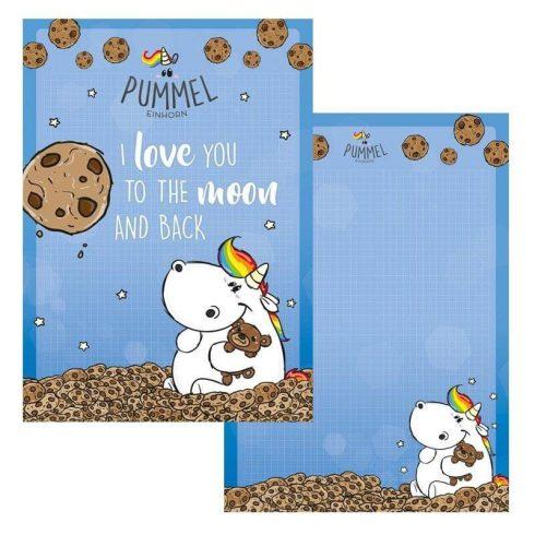 Pummeleinhorn Unikornis notesz, jegyzetfüzet A/4, Moon, kék