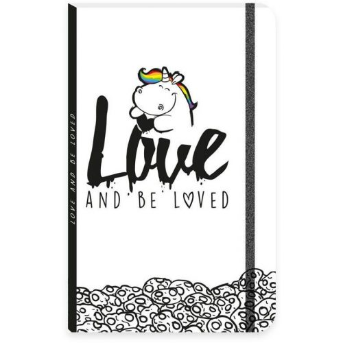 Pummeleinhorn Unikornis napló gumis pánttal, A/5, Love and be loved