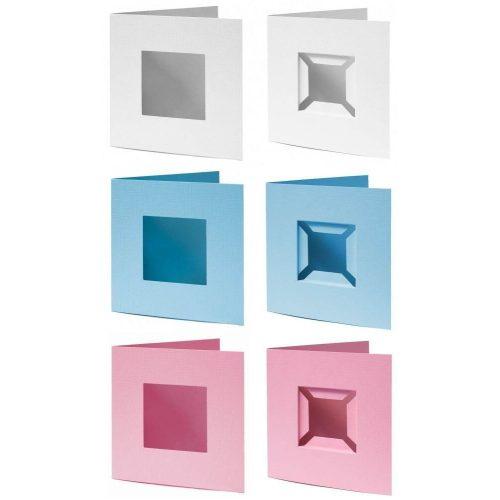 Díszkártya 13x13 cm, kis alaplaphoz, többféle szín és változat