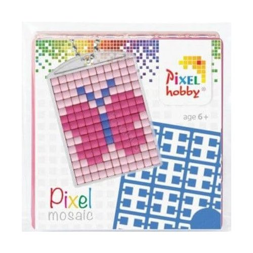 Pixel kulcstartókészítő szett 1 kulcstartó alaplappal, 3 színnel, lepke