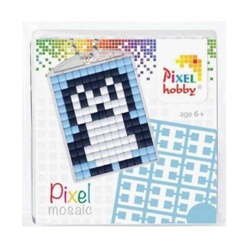 Pixel kulcstartókészítő szett 1 kulcstartó alaplappal, 3 színnel, pingvin
