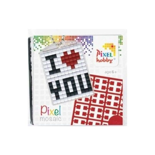 Pixel kulcstartókészítő szett 1 kulcstartó alaplappal, 3 színnel, I love you