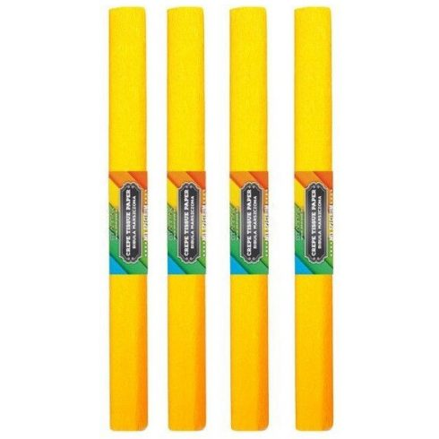 Krepp papír 50x200cm, egyszínű, citromsárga