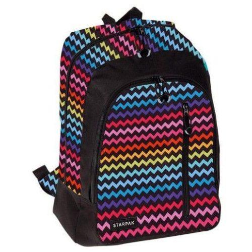 Starpak Lizzie hátizsák, iskolatáska, 42x32x12cm, cikkcakkos
